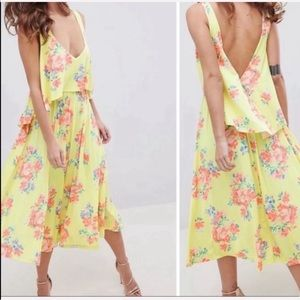 ASOS Backless Dress Jersey Yellow Floral Print 6